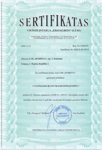 ekoargos sertifikatas